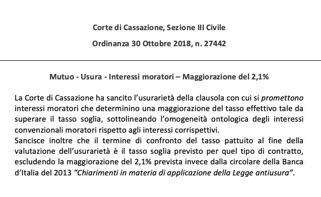 Usura e interessi moratori – Cassazione sez. III Civile ordinanza n. 27442