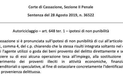 Riciclaggio – Cassazione Sez. II Penale, sentenza n. 36522/2019