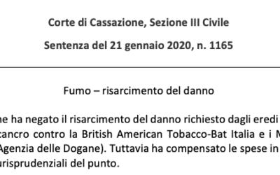 Fumo e risarcimento del danno – Cassazione sez. III Civile, sentenza n. 1165/2020