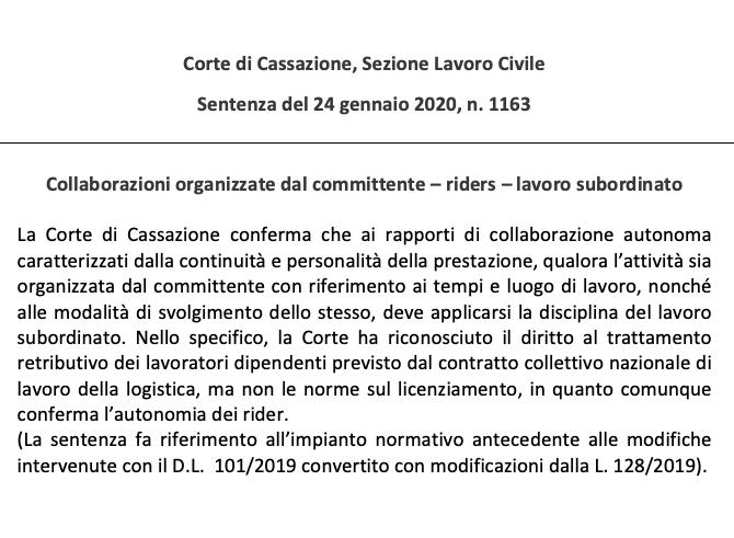Caso Foodora – Cassazione sez. L. Civile, sentenza n. 1163/2020