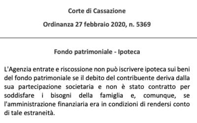 Corte di Cassazione – Ordinanza del 27 febbraio 2020, n. 5369